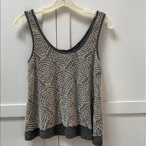 Gray and lace tank top with zipper